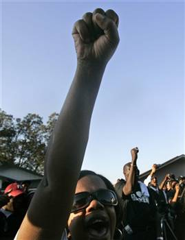 Fist in the air - Jena - Freedom Rider column, BAR
