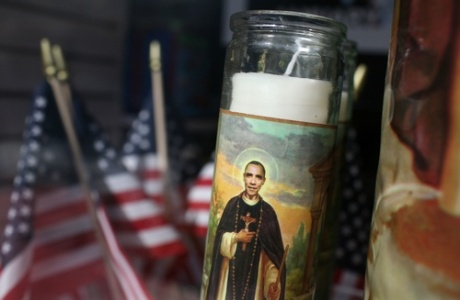 "March 2, 2009 in San Francisco, California. Votive candles with a saintly image of Barack Obama that were created by Johnny Oliver have angered members of the St. Philip the Apostle Church who see the candle as mocking Jesus. The store ""Just For Fun"" has sold over 1,000 of the 10 inch votives which sell for $12.95 each but have yet to sell one of the two foot tall candles which go for $395.  (Photo by Justin Sullivan/Getty Images)"